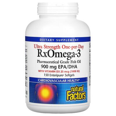 Natural Factors Ultra Strength, RxOmega-3, с витамином D3, 900 мг ЭПК/ДГК (эйкозапентаеновая/докозагексаеновая кислота), 150 гелевых капсул Enteripure