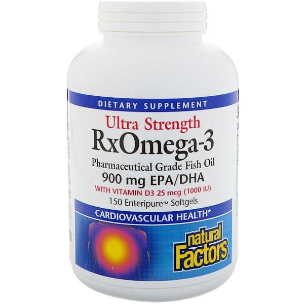 Natural Factors, Ultra Strength RxOmega-3 Factors,含有1000IU維他命D3,150粒