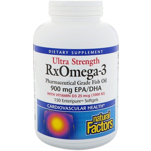 Natural Factors, Ultra Strength, RxOmega-3, with Vitamin D3, 900 mg EPA/DHA, 150 Enteripure Softgels