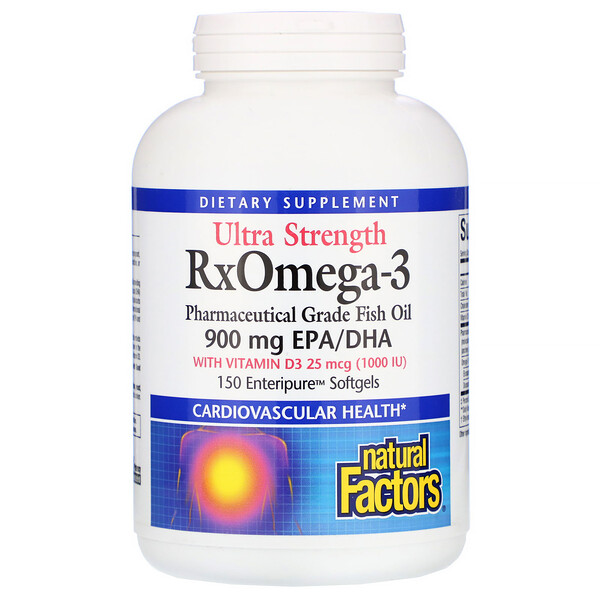 Natural Factors, Ultra Strength RxOmega-3 الغني بفيتامين د3، 900 ملجم حمض ايكوسابنتانويك/حمض الدوكوساهيكسانويك، 150 كبسولة هلامية من Enteripure