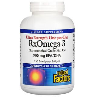 Natural Factors, RxOmega-3, Ultrapotência Uma Vez ao Dia, 900mg de EPA/DHA, 150 Cápsulas Softgel Enteripure