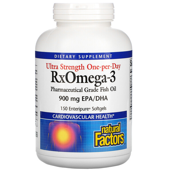 Natural Factors, Ultra Strength RxOmega-3, 900 мг ЭПК/ДГК, 150 мягких таблеток Enteripure