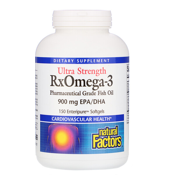 Natural Factors, Ultra Strength RxOmega-3, 900 mg EPA/DHA, 150 Enteripure Softgels