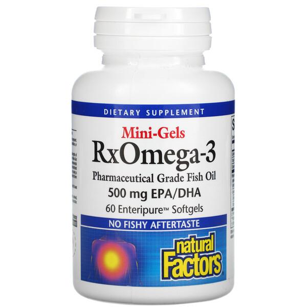 Mini-Gels RxOmega-3, 500 mg, 60 Enteripure Softgels