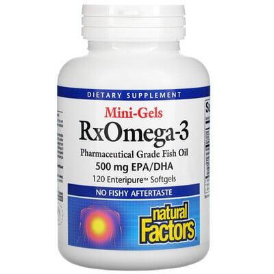 Купить Natural Factors RxOmega-3 Mini-Gels, 500 mg, 120 Enteripure Softgels