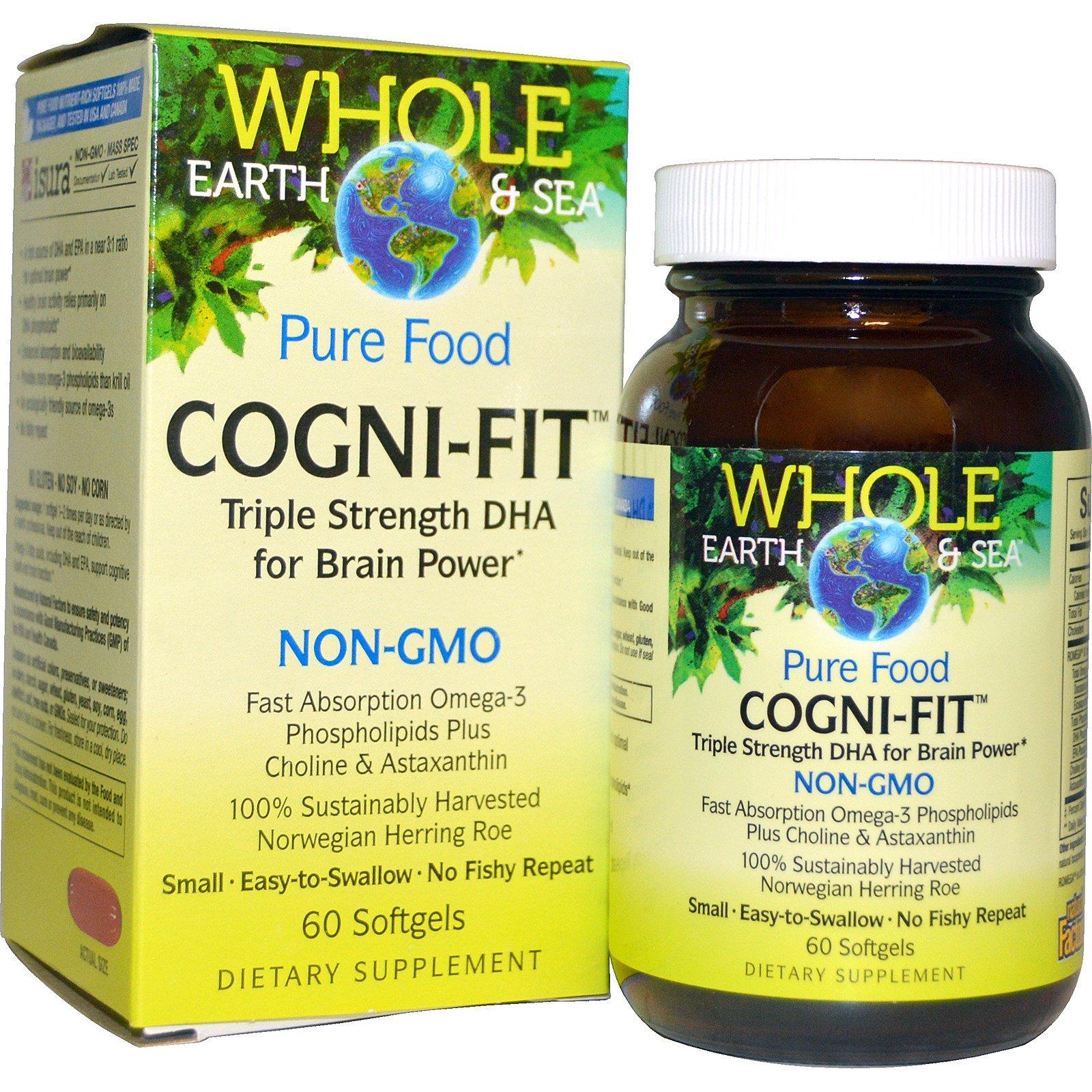 """Natural Factors, Пищевая добавка """"Непочатое море и земля"""", Cogni-Fit, 60 желатиновых капсул"""