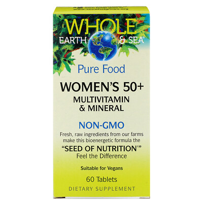 Купить Natural Factors Whole Earth & Sea, мультивитаминный и минеральный комплекс для женщин старше 50 лет, 60 таблеток