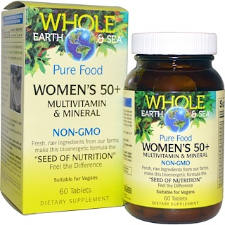 Natural Factors, Whole Earth & Sea, Women's 50+ Multivitamin & Mineral, 60 Tablets