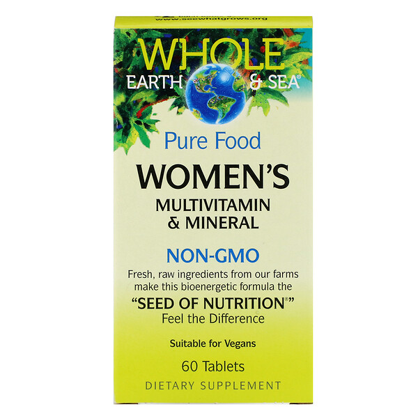 Natural Factors, Whole Earth & Sea, Multivitaminas y minerales para mujeres, 60 tabletas (Discontinued Item)