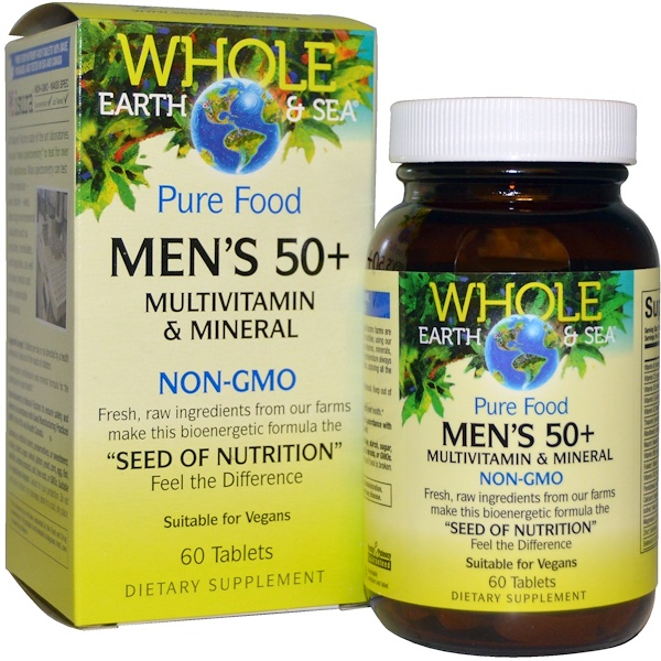 Natural Factors, Terra e Mar Integrais, Multivitamínico e Multimineral Para Homens com 50 Anos ou Mais, 60 Comprimidos