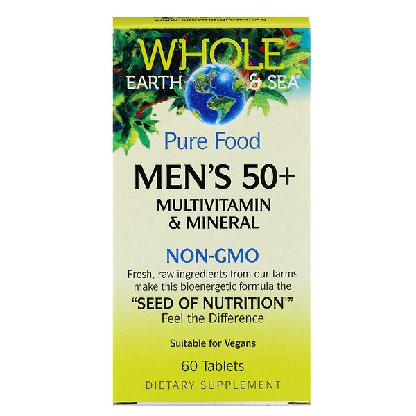 Natural Factors, Whole Earth & Sea, Men's 50+ Multivitamin & Mineral, 60 Tablets