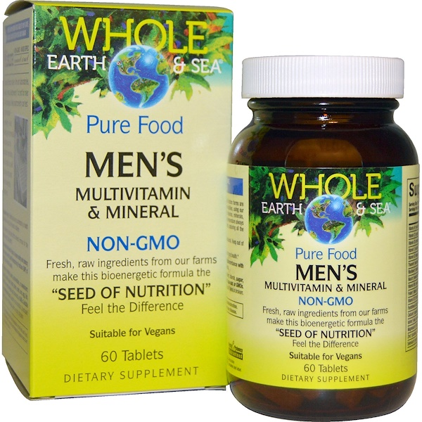 Natural Factors, Whole Earth & Sea, Multivitaminas y minerales para hombres, 60 tabletas
