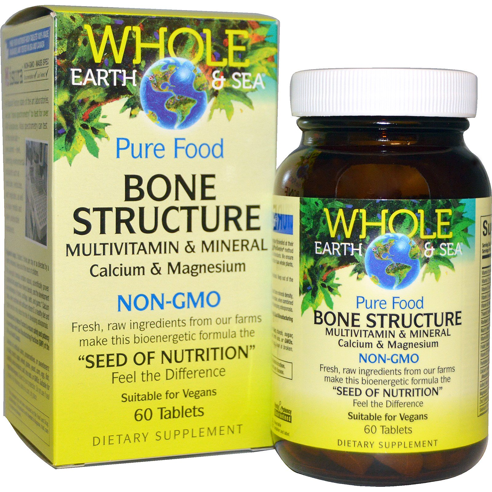 """Natural Factors, Пищевая добавка """"Непочатое море и земля"""", мультивитаминный и минеральный комплекс для здоровья костей, 60 таблеток"""