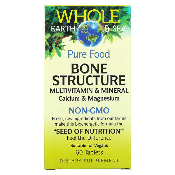 Whole Earth & Sea, Bone Structure Multivitamin & Mineral, Calcium & Magnesium, 60 Tablets