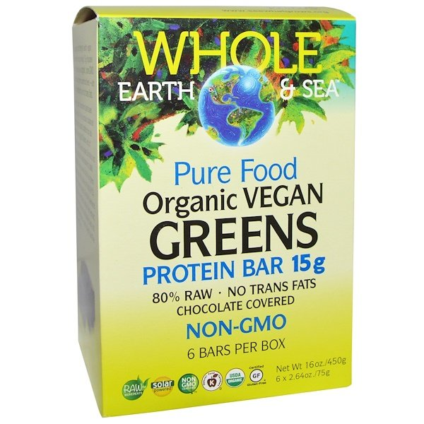 Natural Factors, Whole Earth & Sea, Pure Food Organic Vegan Greens Protein Bars, Chocolate Covered, 6 Bars, 2.64 oz (75 g) Each (Discontinued Item)