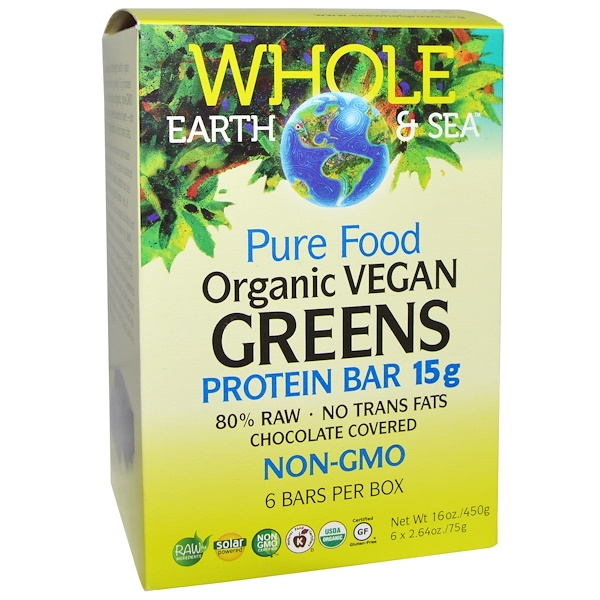 Natural Factors, Whole Earth & Sea, Pure Food Organic Vegan Greens Protein Bars, Chocolate Covered, 6 Bars, 2.64 oz (75 g) Each
