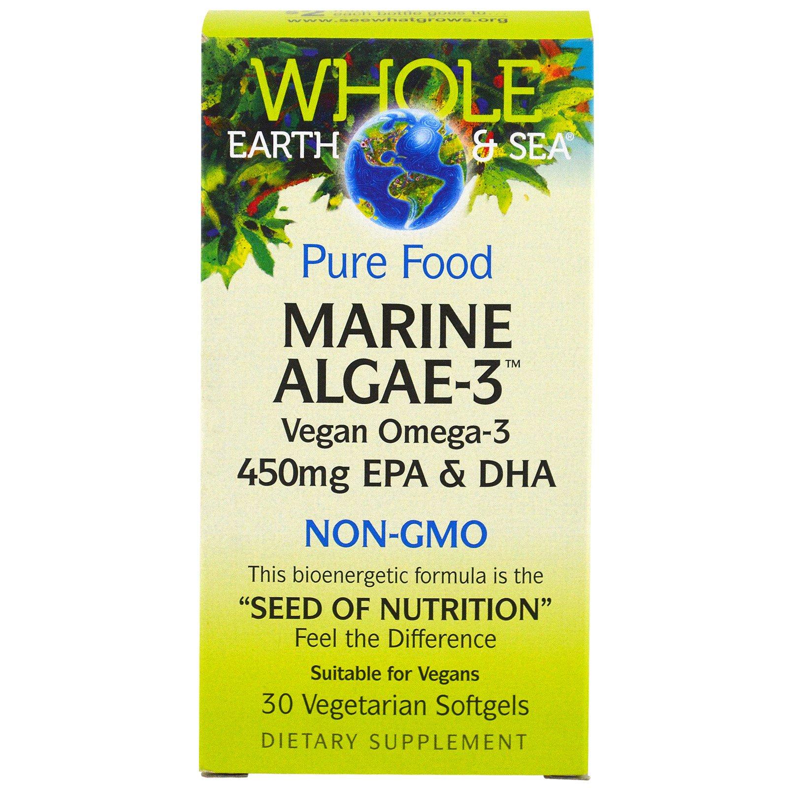 Natural Factors, Whole Earth & Sea, Морские водоросли-3, 450 мг ЭПК и ДГК, 30 капсул в растительной оболочке