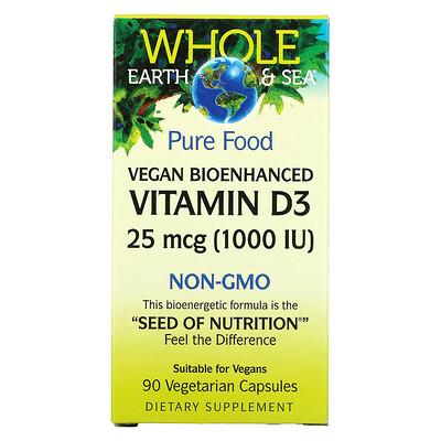 Купить Natural Factors Whole Earth & Sea, Vegan Bioenhanced Vitamin D3, 25 mcg (1, 000 IU), 90 Vegetarian Capsules