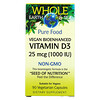 Natural Factors, Whole Earth & Sea, Vegan Bioenhanced Vitamin D3, 25 mcg (1,000 IU), 90 Vegetarian Capsules