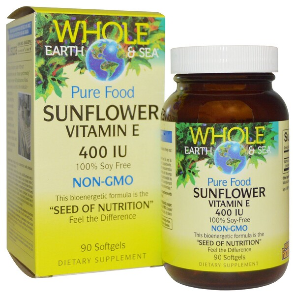 Natural Factors, Whole Earth & Sea, Vitamina E de girasol, 400 IU, 90 tabletas de gel suave (Discontinued Item)