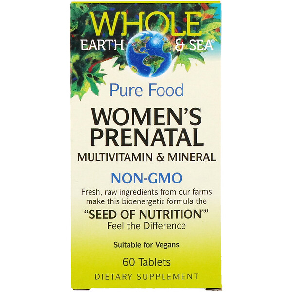 Natural Factors, Whole Earth & Sea, Multivitamínico e Multimineral Pré-natal para Mulheres, 60 Comprimidos