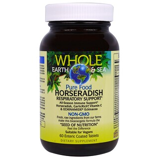 Natural Factors, Whole Earth & Sea, Pure Food Horseradish, 60 Enteric Coated Tablets