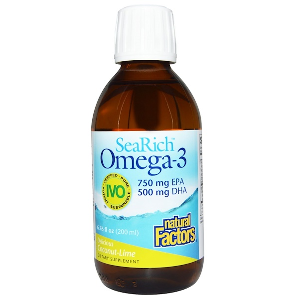 Natural Factors, SeaRich Omega-3, 750 mg EPA/500 mg DHA, Delicious Coconut-Lime, 6.76 fl oz (200 ml) (Discontinued Item)