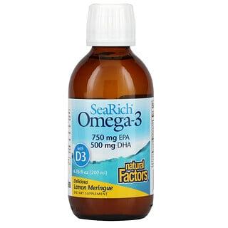 Natural Factors, SeaRich Omega-3 with Vitamin D3, Delicious Lemon Meringue, 6.76 fl oz (200 ml)