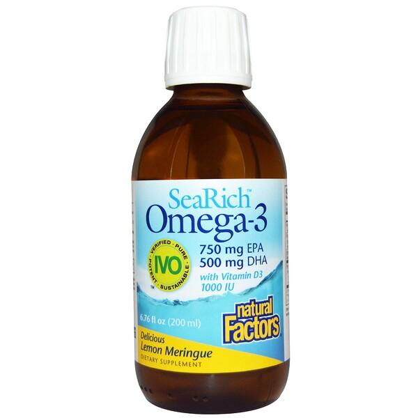 Natural Factors, SeaRich Omega-3, 750 mg EPA/500 mg DHA, with Vitamin D3, Lemon Meringue, 6.76 fl oz (200 ml) (Discontinued Item)