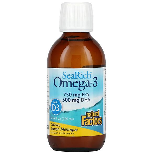 SeaRich Omega-3 with Vitamin D3, Delicious Lemon Meringue, 6.76 fl oz (200 ml)
