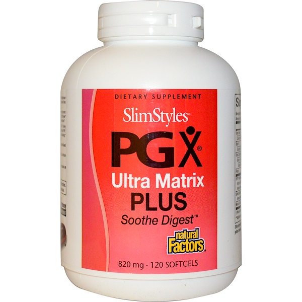 Natural Factors, SlimStyles, PGX Ultra Matrix Plus, Soothe Digest, 820 mg, 120 Softgels