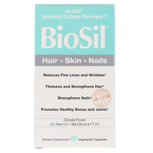 BioSil by Natural Factors, BioSil, ch-OSA, Advanced Collagen Generator, 60 вегетарианских капсул