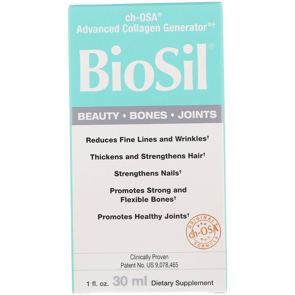 "BioSil by Natural Factors, מייצר קולגן ch-OSA Advanced Collagen Generator‏, 1 אונקיית נוזל (30 מ""ל)"