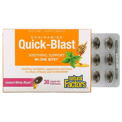 Купить Natural Factors Quick-Blast, Instant Minty Blast, 30 Liquid Gel Softgels