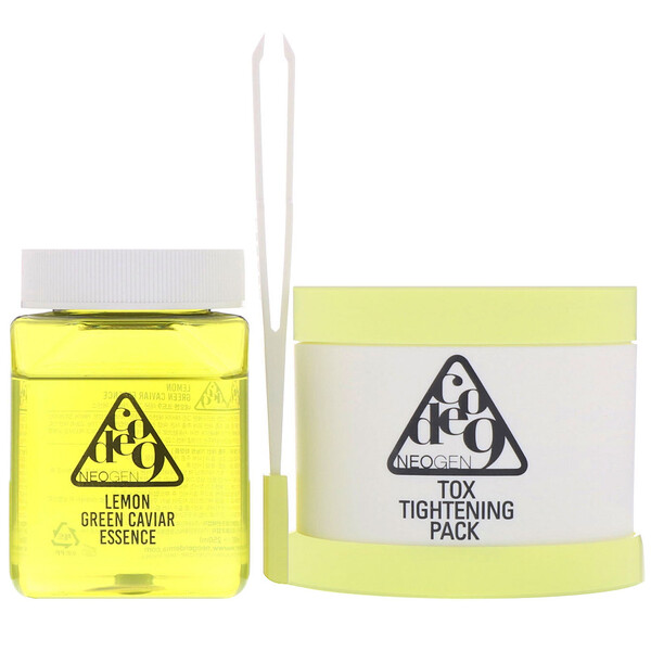Neogen, Code 9, Lemon Green Caviar Essence & Tox Tightening Pack Kit, 1 Kit