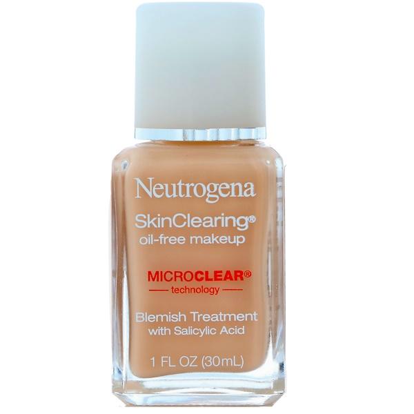 Neutrogena, SkinClearing Oil-Free Makeup, Classic Ivory 10, 1 fl oz (30 ml)