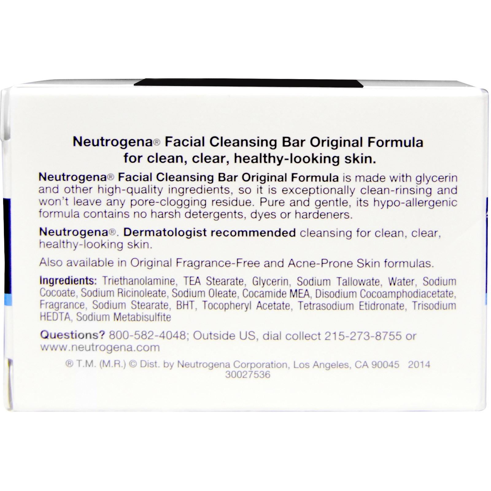 Neutrogena facial bar ingredients apologise