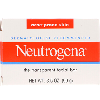 Купить Neutrogena Прозрачное кусковое мыло для лица, для кожи, склонной к акне, 99г (3, 5унции)