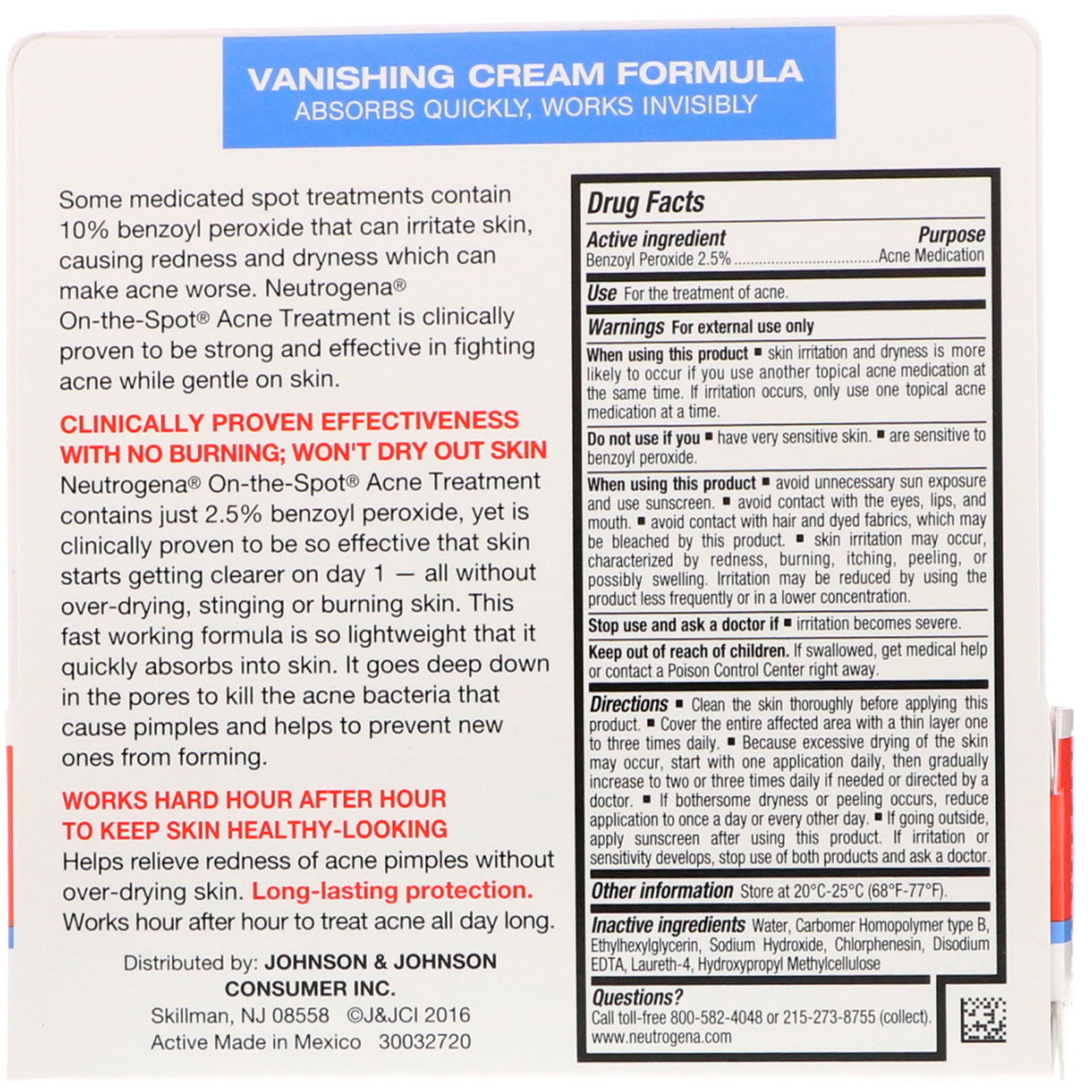 Neutrogena On The Spot Acne Treatment 0 75 Oz 21 G Iherb