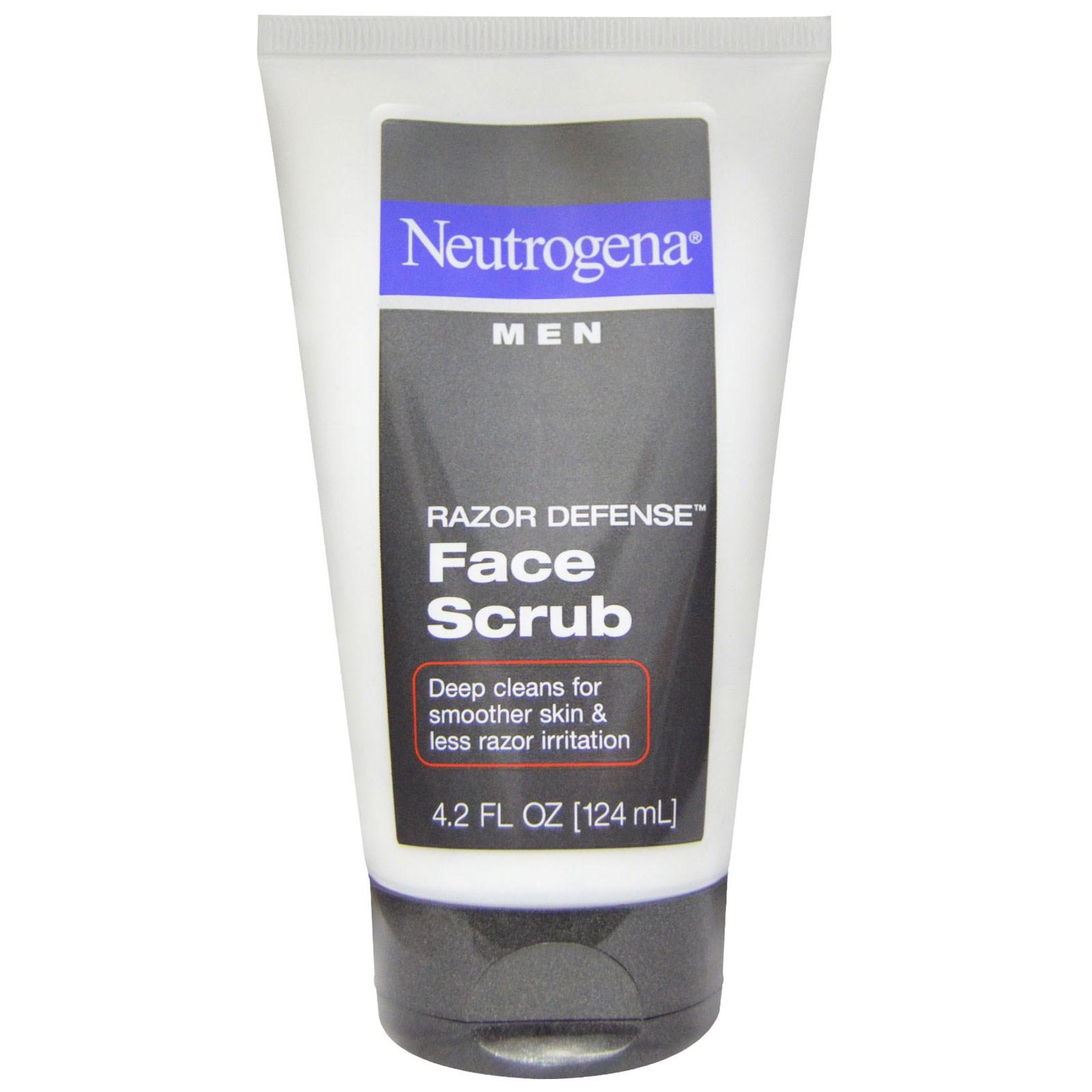 """Neutrogena, """"Острая защита"""", мужской скраб для лица, 4,2 жидких унций (124 мл)"""