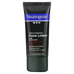 Neutrogena, 男士,三重保護面部抗曬乳液,SPF 20,1.7液體盎司(50毫升)