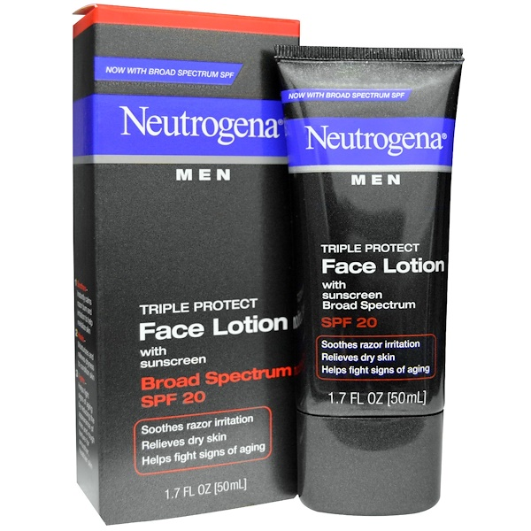 Neutrogena, Men, Triple Protect Face Lotion with Sunscreen, SPF 20, 1.7 fl oz (50 ml)