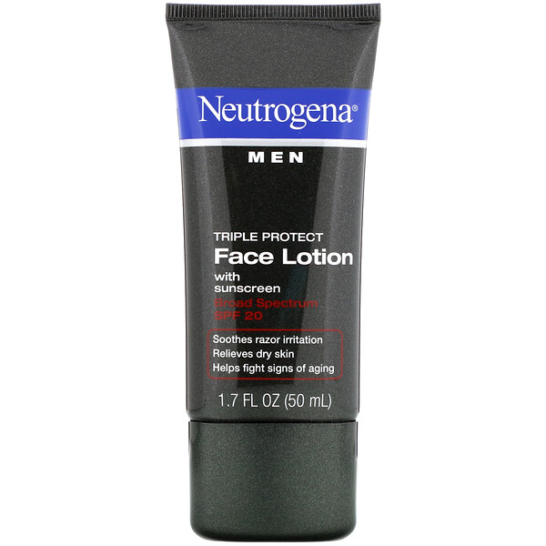 Men, Triple Protect Face Lotion with Sunscreen, SPF 20, 1.7 fl oz (50 ml)