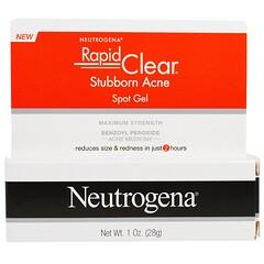 Neutrogena, سريع واضح، جل لبقع حب الشباب المستعصية، القوة القصوى، 1 أوقية (28 جم)