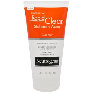 Neutrogena, Rapid Clear, Stubborn Acne Cleanser, Maximum Strength, 5.0 fl oz (147 ml)