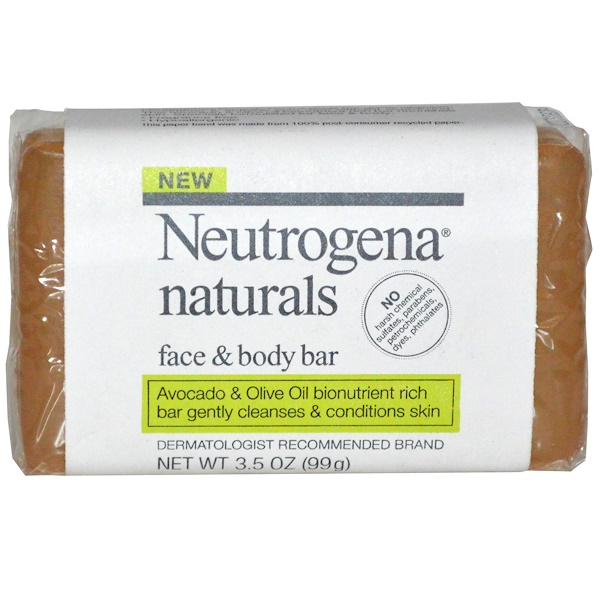 Neutrogena, Face & Body Bar, Fragrance Free, 3.5 oz (99 g) (Discontinued Item)