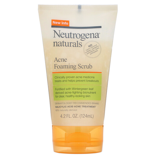 Neutrogena, Naturals, Acne Foaming Scrub, 4.2 fl oz (124 ml) (Discontinued Item)