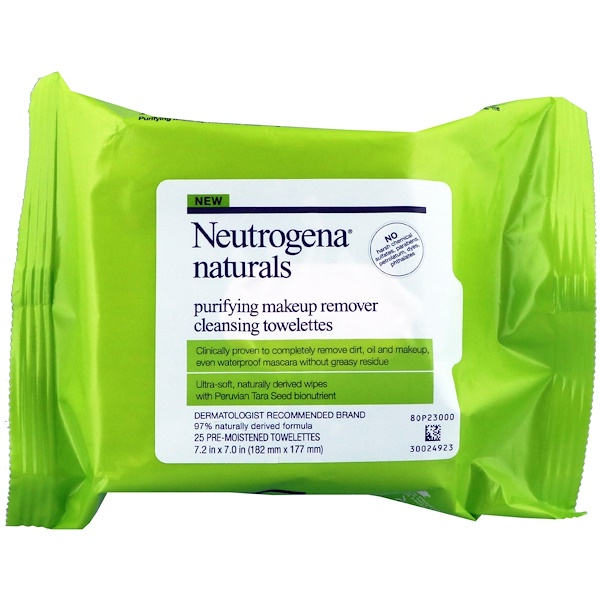 Neutrogena, Neutrogena, Naturals, Purifying Makeup Remover Cleansing Towelettes, 25 Towelettes (Discontinued Item)