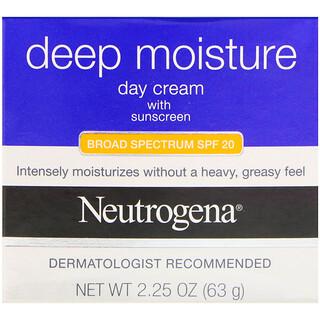 Neutrogena, Hidratação Profunda, Creme Diurno com Proteção Solar, FPS 20 de Amplo Espectro, 2,25 oz (63 g)