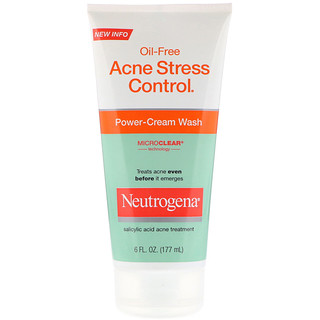 Neutrogena, Oil-Free Acne Stress Control, Power-Cream Wash, 6 fl oz (177 ml)